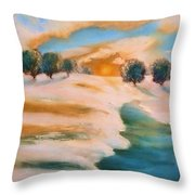 Oranges In The Snow-landscape Painting By V.kelly Throw Pillow by Valerie Anne Kelly