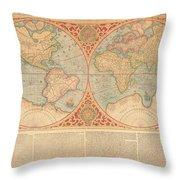 Orbis Terrae Compendiosa Descriptio  Quam Ex Magna Universali Gerardi Mercatoris Domino Richardo  Throw Pillow