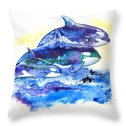 Orca Fantasy Throw Pillow