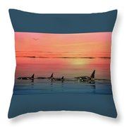 Orca Sunset Throw Pillow