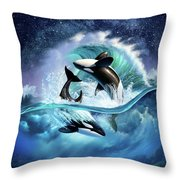 Orca Wave Throw Pillow