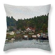 Orcas Island Dock Digital Throw Pillow