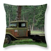 Orcas Island Old Truck Throw Pillow