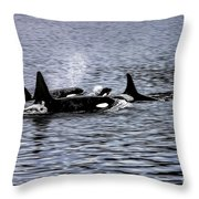 Orcas, The Killer Whales Throw Pillow