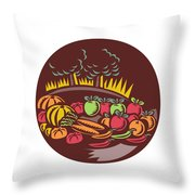 Orchard Crop Harvest Circle Woodcut Throw Pillow