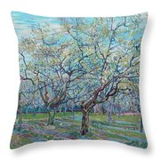 Orchard With Blossoming Plum Trees   Throw Pillow