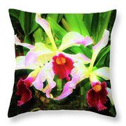 Orchid Flowers Color 1 Throw Pillow