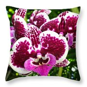 Orchid Hanging In Palms Throw Pillow