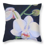 Orchid In Blue Throw Pillow
