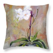 Orchid In White 3 Throw Pillow