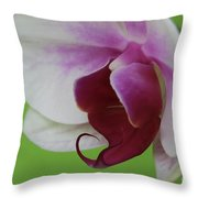 Orchid On Green Throw Pillow