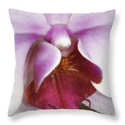 Orchid Portrait In Craquelure Throw Pillow
