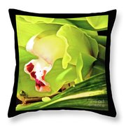 Orchid With Yellow And Green 2 Throw Pillow