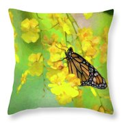 Orchids And Butterfly Painting Throw Pillow