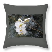 Orchids And Water Throw Pillow