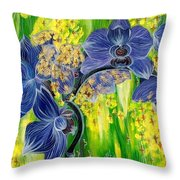 Orchids In A Gold Rain Throw Pillow