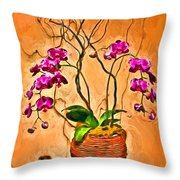 Orchids In Basket Throw Pillow