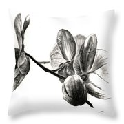 Orchids In Black Throw Pillow
