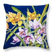 Orchids In Blue Throw Pillow by Lucy Arnold