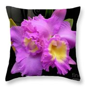 Orchids In Fuchsia  Throw Pillow