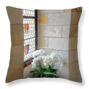 Orchids In The Chateau Throw Pillow