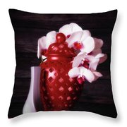 Orchids With Red And Gray Throw Pillow