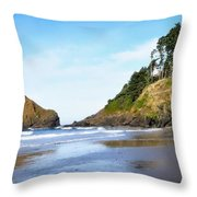 Oregon - Beach Life Throw Pillow