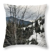 Oregon Cascade Range Trees Throw Pillow