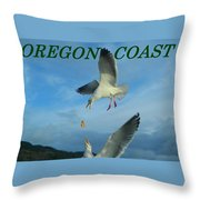 Oregon Coast Amazing Seagulls Throw Pillow