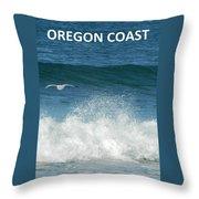 Oregon Coast Flying Seagull Throw Pillow