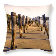 Oregon Coast Pilings Throw Pillow