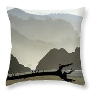 Oregon Coastal Beach Throw Pillow