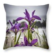 Oregon Iris At The Beach Throw Pillow
