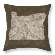Oregon Map Music Notes 3 Throw Pillow