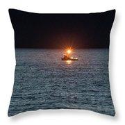 Oregon Night Fishing Throw Pillow by Tom Singleton