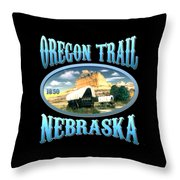 Oregon Trail Nebraska History Design Throw Pillow