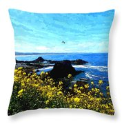 Oregon Wild Flowers Water Color Throw Pillow