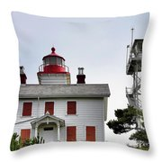 Oregon's Seacoast Lighthouses - Yaquina Bay Lighthouse - Old And New Throw Pillow by Christine Till