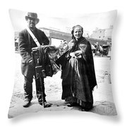 Organ Grinder, 1897 Throw Pillow