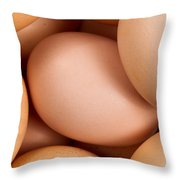 Organic Brown Eggs In Filled Frame Format Throw Pillow