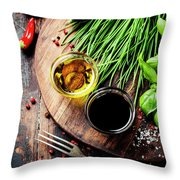 Organic Vegetables And Spices Throw Pillow