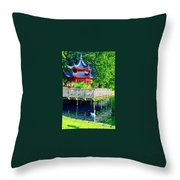Orient Swan Pagoda Throw Pillow