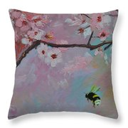 Oriental Cherry Throw Pillow