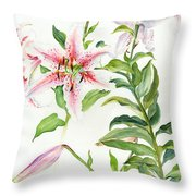 Oriental Lily Mona Lisa Liliaceae Throw Pillow