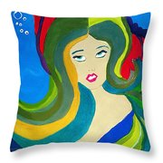 Japanese Mermaid Bubbles  Throw Pillow