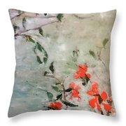 Oriental Orange Flowers Throw Pillow