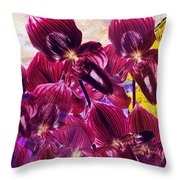 Oriental Orchid Garden Throw Pillow