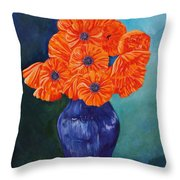 Oriental Poppies In Blue Throw Pillow