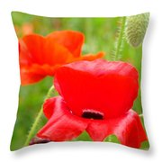 Oriental Poppy Flower Art Prints Poppies Red Baslee Troutman Throw Pillow