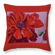 Oriental Poppy With Bud Throw Pillow
